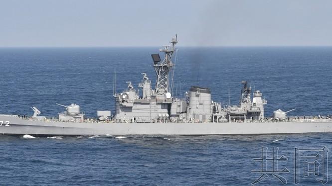 Tàu khu trục Shimakaze của Lực lượng phòng vệ trên biển (Hải quân) Nhật Bản bị tàu cá Trung Quốc đâm thủng tối 30/3 (Ảnh: Kyodo).