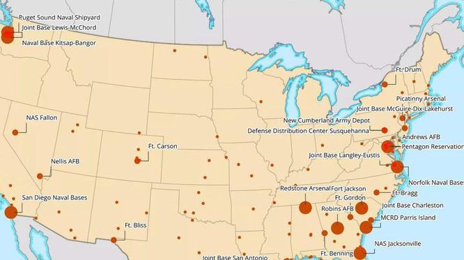 Bản đồ về tình hình dịch bệnh COVID-19 tại các căn cứ quân sự Mỹ (Ảnh: Newsweek).