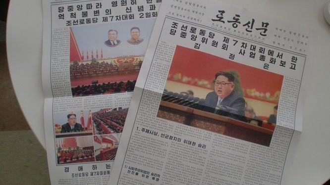 Tờ Rodong Singmun đưa trên đầu trang nhất về hoạt động của ông Kim Jong-un (Ảnh: Sputnik)