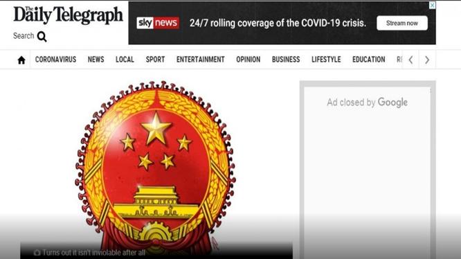Hình quốc huy Trung Quốc bị tờ Daily Telegraph chế để minh họa gây nên sóng gió (Ảnh: Daily Telegraph).