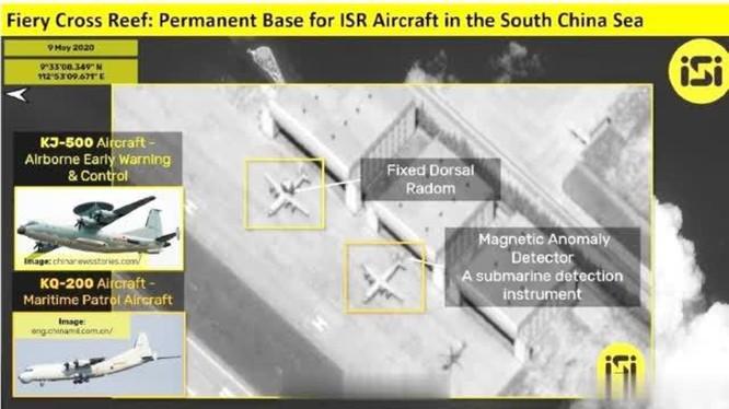 Gần đây, Trung Quốc đã đưa các máy bay báo động sớm KJ-500 và chống ngầm KQ-200 ra đá Chữ Thập, được giới quan sát coi là bước chuẩn bị cho việc lập ADIZ (Ảnh:hotbak.net)