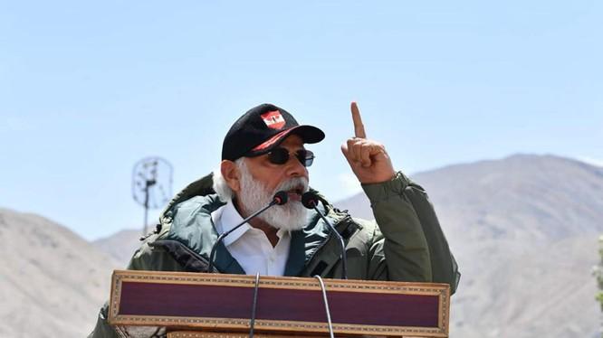 Phát biểu trước binh sĩ quân đoàn 14 ở Ladakh, Thủ tướng Ấn Độ Modi lên án chủ nghĩa bành trướng (Ảnh:Reuters).