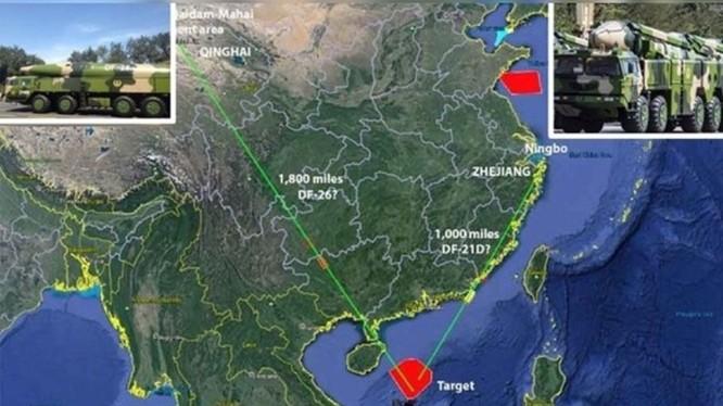 Sáng 26/8, quân đội Trung Quốc đã phóng tên lửa đạn đạo chống hạm từ Thanh Hải và Chiết Giang tới khu vực biển phía Bắc quần đảo Hoàng Sa thuộc chủ quyền Việt Nam (Ảnh: Đông Phương).