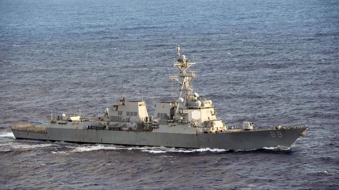 Tàu USS DDG-89 Mustin đi vào vùng biển Hoàng Sa ngày 27/8. (Ảnh: .nanhai.org).