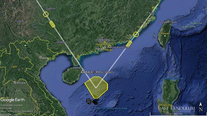 Sơ đồ vụ phóng tên lửa của Trung Quốc hôm 26/8 từ nội địa tới Biển Đông (Ảnh: East Pendulum).