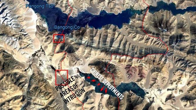 Bản đồ do Bộ Quốc phòng Ấn Độ công bố cho thấy quân đội Trung Quốc lấn sang phía lãnh thổ Ấn Độ (Ảnh: Đa Chiều).