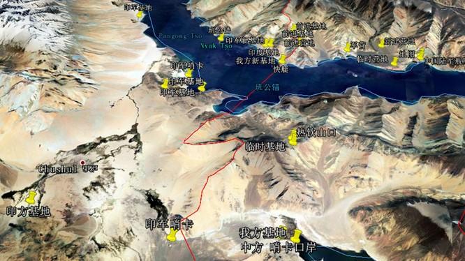 Các điểm xảy ra xung đột mấy ngày qua giữa quân đội Trung Quốc và Ấn Độ ở phía nam Hồ Pangong (Ảnh Đa Chiều).