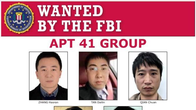 5 tin tặc Trung Quốc bị Bộ Tư pháp Mỹ khởi tố.Người ở giữa, hàng trên là Đàm Đại Lâm (Ảnh: FBI/DOJ).