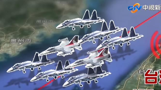 """Truyền hình Đài Loan đưa tin, ngày 19/9 khi các máy bay chiến đấu Trung Quốc vượt qua đường trung tâm eo biển, 2 máy bay IDF của Đài Loan lên ngăn chặn đã bị 6 chiếc J-16 PLA """"kẹp nách"""" (Ảnh: Đa Chiều)."""