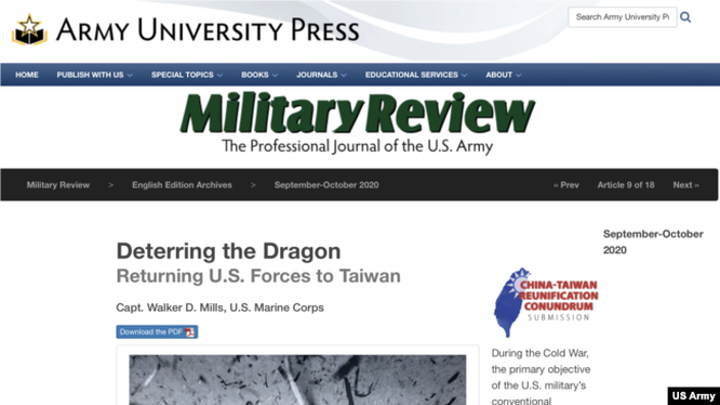 Bài viết trên tạp chí Military Review số mới nhất của quân đội Mỹ kêu gọi tái triển khai quân Mỹ tới Đài Loan đang gây nên sóng gió (Ảnh: VOA).