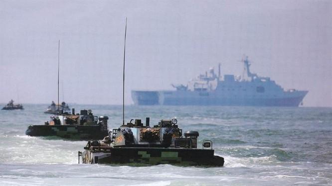 Quân đội Trung Quốc liên tiếp tổ chức các cuộc diễn tập thực binh nhằm vào Đài Loan (Ảnh: Chinatimes),
