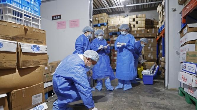 CDC Trung Quốc thông báo xác nhận nguồn gây nên đợt lây nhiễm COVID-19 trong cộng đồng mới ở Thanh Đảo là từ bao bì cá tuyết đông lạnh nhập khẩu. Trong ảnh: các nhân viên đang lấy mẫu tìm SARS-CoV-2 trong kho lạnh (Ảnh: Hk01).