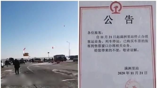 """Do xuất hiện dịch trong cộng đồng, thành phố Mãn Châu Lý đã thông báo """"phong thành"""", phong tỏa kể từ ngày 21/11 (Ảnh: Dongfang)."""