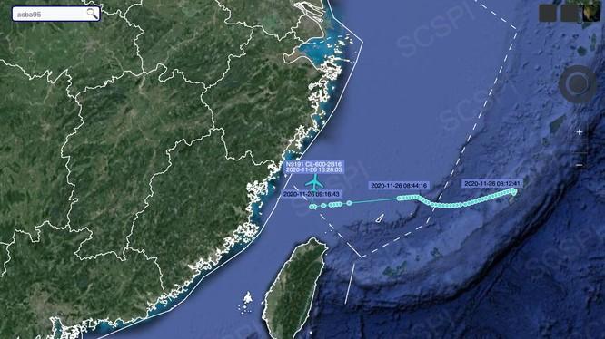Bản đồ của Dự án Nhận thức tình hình chiến lược Biển Đông (Trung Quốc) công bố cho thấy chiếc CL-604 vào rất gần bờ biển tỉnh Chiết Giang (Ảnh: Dongfang).