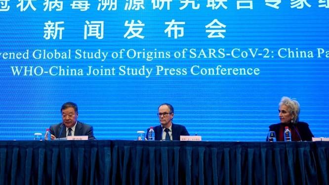 Nhóm chuyên gia WHO và các chuyên gia Trung Quốc tổ chức họp báo chung về kết quả điều tra về nguồn gốc SARS-CoV-2 (Ảnh: TRT).