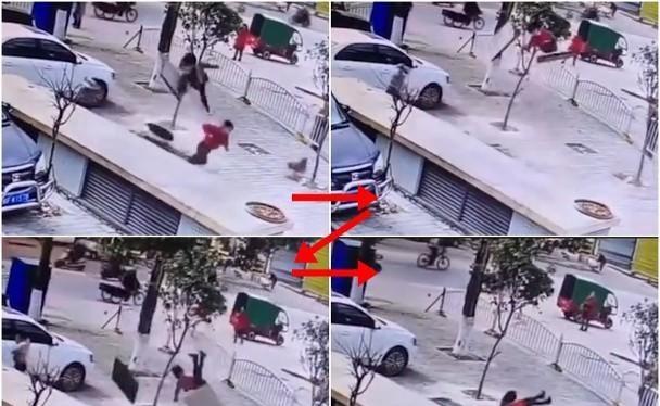 Hình ảnh chú bé ở Long Nham, Phúc Kiến bị vụ nổ hất tung lên cao (Ảnh: Đông Phương).
