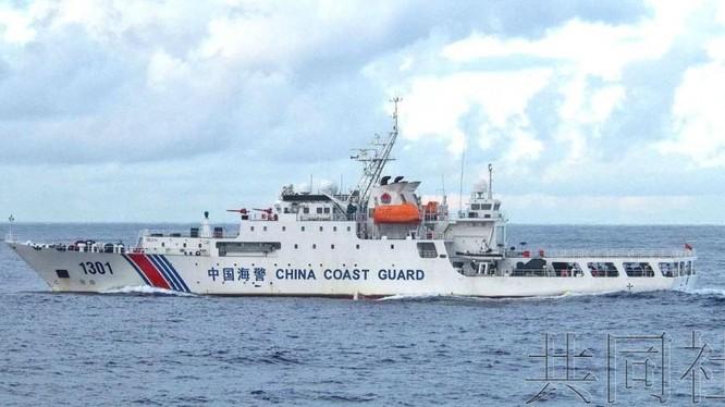 Tàu hải cảnh Trung Quốc đi vào vùng biển quần đảo Senkaku/Điếu Ngư, Nhật kịch liệt phản đối và yêu cầu rời đi (Ảnh: Kyodo).