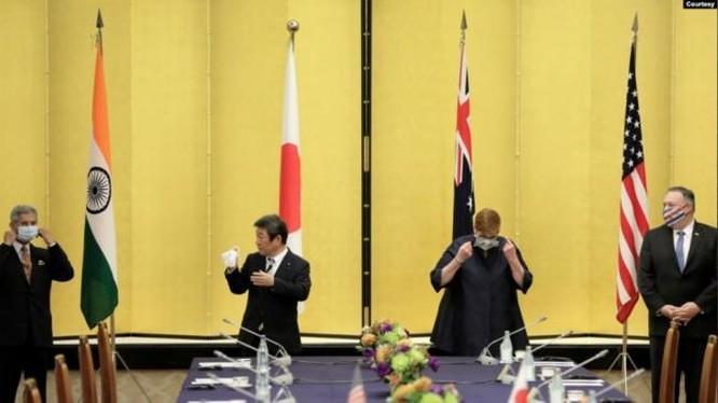 Ngoại trưởng 4 nước Quad gặp nhau tháng 10/2020 tại Tokyo (Ảnh: VOA).