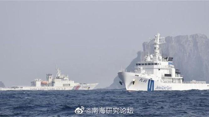 Tàu công vụ Trung Quốc và Nhật bản quần nhau trên vùng biển quần đảo Senkaku/Điếu Ngư (Ảnh: Dwnews).
