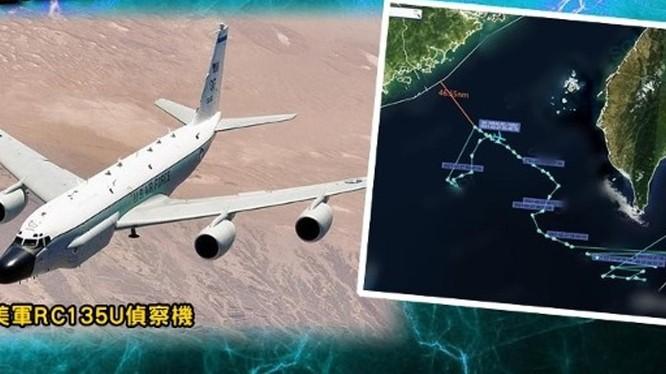 Theo Chương trình Nhận thức Tình hình Chiến lược Biển Đông (SCSPI) của Trung Quốc, ngày 27/2, Không quân Mỹ cho máy bay trinh sát chiến lược RC-135U vào gần bờ biển tỉnh Quảng Đông (Ảnh: Đông Phương).