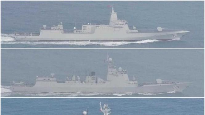 3 tàu Trung Quốc đi vào biển Nhật Bản hôm 19/3. Trên xuống là các tàu Nam Xương, Thành Đô và Đại Khánh (Ảnh: Đông Phương).