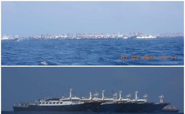 Tàu cá chở dân binh Trung Quốc neo đậu dày đặc ở gần bãi Ba Đầu (Ảnh: Đông Phương).