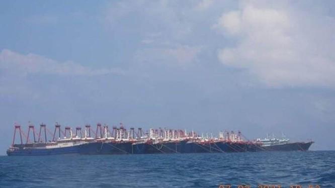Một tốp tàu cá vỏ sắt của Trung Quốc đang neo đậu ở gần bãi Ba Đầu (Ảnh: Đông Phương).