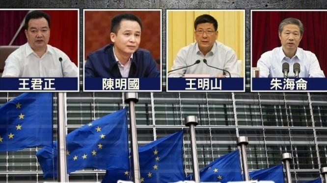 4 quan chức của Tân Cương bị EU áp đặt trừng phạt. Từ trái qua: Vương Quân Chính, Trần Minh Quốc, Vương Minh Sơn, Chu Hải Luân (Ảnh: Đông Phương).