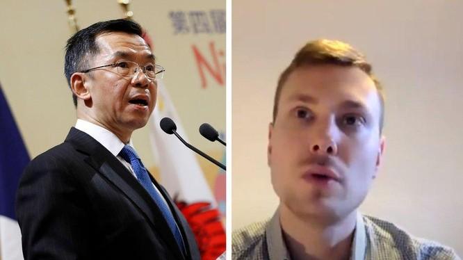 Đại sứ Trung Quốc Lư Sa Dã (trái) và học giả Pháp Antoine Bondaz - hai người gây nên sóng gió ngoại giao Pháp - Trung hiện nay (Ảnh: Lefigaro).