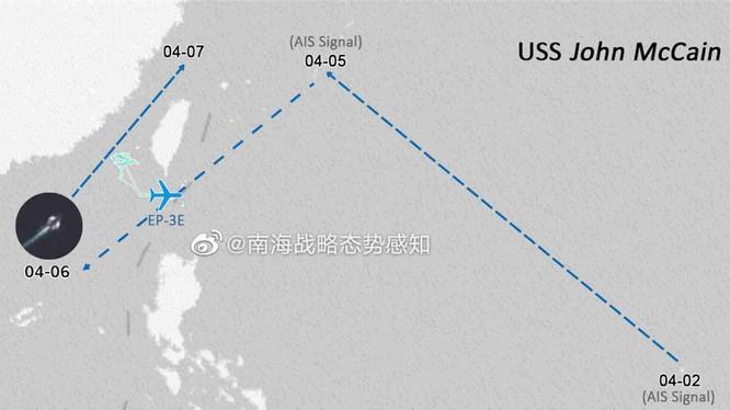SCSPI công bố sơ đồ hoạt động của tàu chiến và máy bay trinh sát Mỹ áp sát Trung Quốc hôm 7/4 (Ảnh: Đa Chiều).
