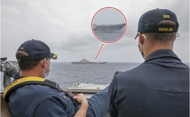 Hình ảnh tàu Liêu Ninh bị tàu Mỹ giám sát khiến dư luận mạng Trung Quốc nổi sóng (Ảnh: Đông Phương).