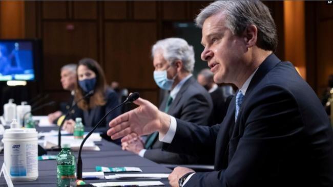 Các lãnh đạo các cơ quan tình báo Mỹ thống nhất về mối đe dọa của Trung Quốc tại phiên điều trần tại Thượng viện hôm 14/4 (Ảnh: VOA).