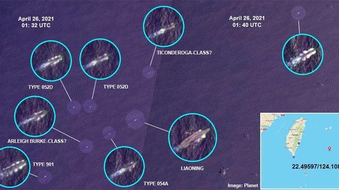 Hình ảnh vệ tinh cho thấy hai tàu chiến Mỹ đi lẫn đội hình biên đội tàu Liêu Ninh (Ảnh: Sohu).