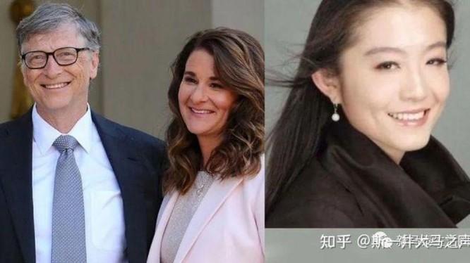 Dư luận mạng Mỹ và Trung Quốc rộ tin Vương Triết (phải) là tác nhân khiến gia đình Bill Gates tan vỡ (Ảnh: zhihu).