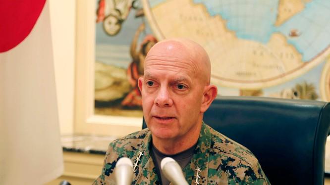 Đô đốc David Berger: lực lượng Thủy quân Lục chiến Mỹ cần được triển khai ra phía trước để răn đe Trung Quốc (Ảnh: AP).