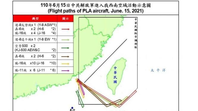Sơ đồ đường bay của 28 máy bay PLA hôm 15/6 do quân đội Đài Loan công bố (Ảnh: CNA).