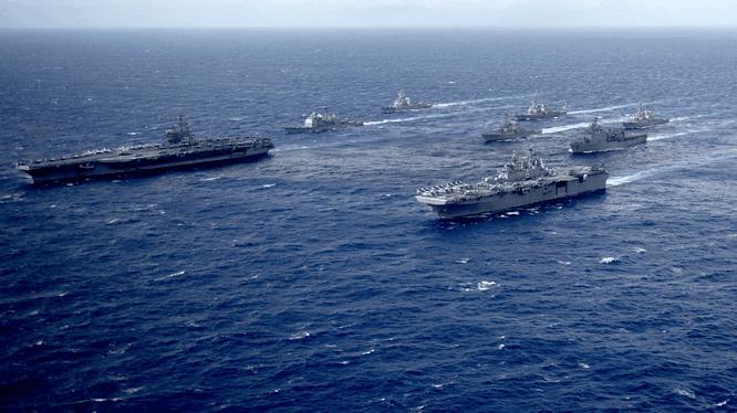 Hai nhóm tác chiến tàu sân bay của Mỹ diễn tập ở Biển Đông tháng 2/2021 (Ảnh: Sohu).