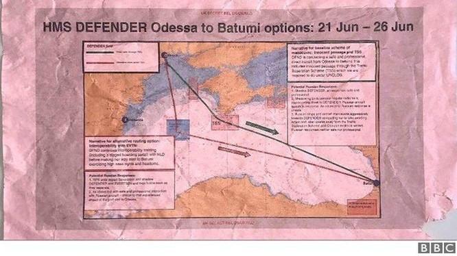 Bản đồ về kế hoạch hành trình của chiếc HMS Defender đã được lên từ trước (Ảnh: BBC).