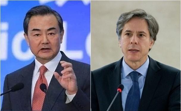 Ngoại trưởng Trung Quốc Vương Nghị và Ngoại trưởng Mỹ Antony Blinken (Ảnh: Đông Phương).