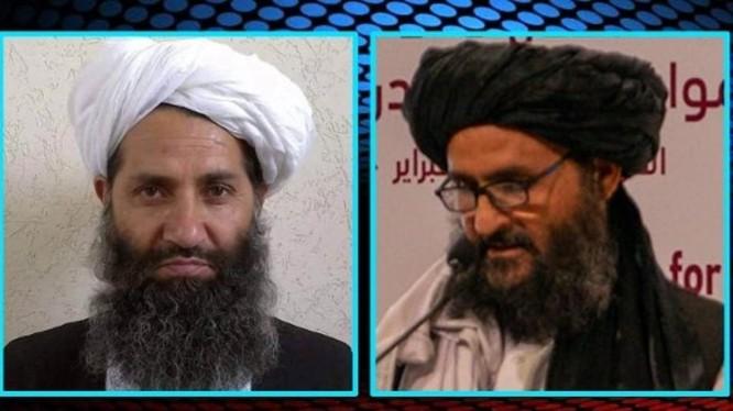 """Hai nhà lãnh đạo chủ chốt của chính quyền Taliban trong tương lai: """"Lãnh tụ tối cao"""" Haibatullah Akhundzada (trái) và """"Tổng thống"""" Abdul Ghani Baradar (Ảnh: Đông Phương)."""