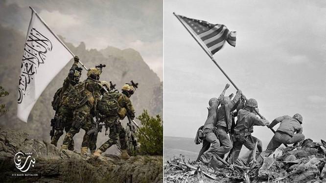 """Bức ảnh kinh điển """"Cắm cờ trên đảo Iwo Jima"""" và ảnh nhái (trái) khiến người Mỹ tức giận (Ảnh: Dwnews)."""