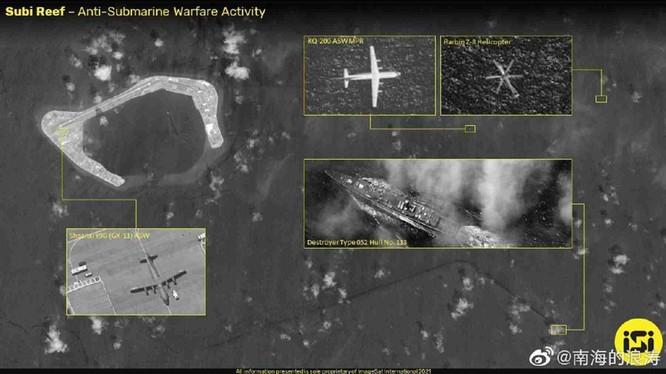 Ảnh vệ tinh của ISI cho thấy các máy bay và tàu chiến Trung Quốc đang hoạt động trên vùng trời và vùng biển gần đá Subi (Ảnh: Dwnews).