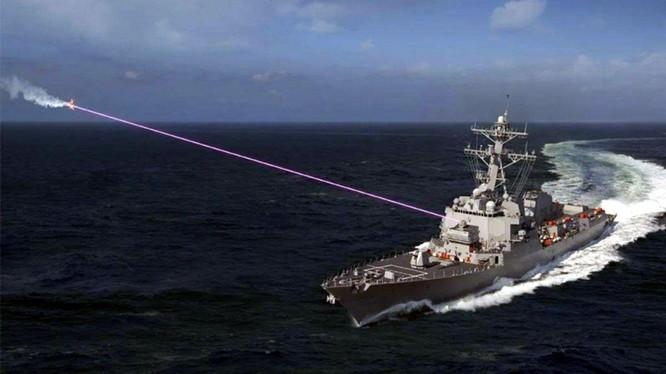Tàu chiến Mỹ thử nghiệm dùng vũ khí laser tiêu diệt máy bay không người lái (Ảnh: Dwnews).