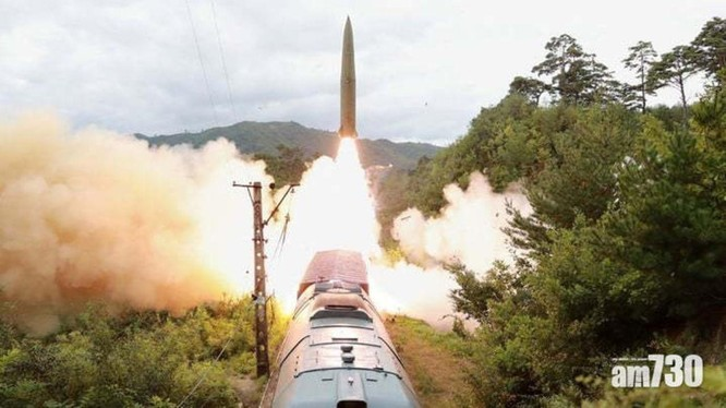Ngày 15/9, lần đầu tiên, Triều Tiên phóng thử tên lửa đạn đạo từ xe lửa (Ảnh: KCNA)