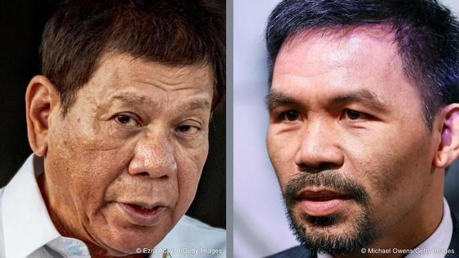 Với việc võ sĩ Manny Pacquiao tuyên bố ra tranh cử Tổng thống Philippines , mâu thuẫn giữa ông và ông Duterte đang nóng lên (Ảnh: Deutsche Welle).