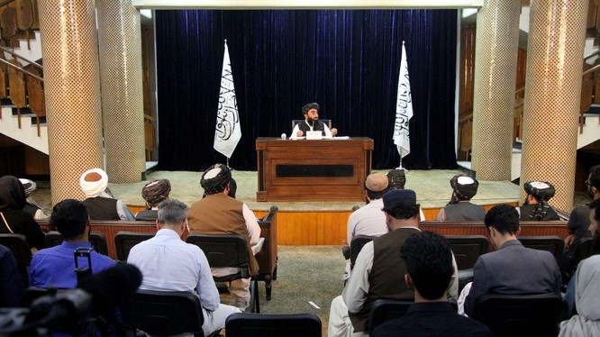 Ngày 21/9, Taliban tổ chức họp báo quốc tế thông báo về một số vấn đề quan trọng (Ảnh: Dwnews).
