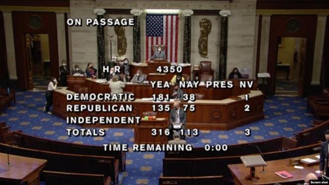 Ngày 23/9, Hạ nghị viện Mỹ đã thông qua Dự luật Ủy quyền Quốc phòng cho Năm tài chính 2022 với đa số áp đảo 316/113 (Ảnh: Screenshot).