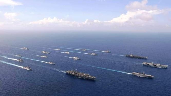 Ít nhất 17 tàu mặt nước của Hải quân 6 nước tiến hành diễn tập ở vùng biển gần Đài Loan (Ảnh: Guancha).