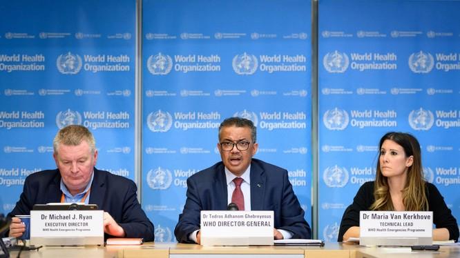 Tổng thư ký WHO Tedros Adhanom (giữa), ông Michael Ryan (trái) và bà Van Kelkhoff tại cuộc họp báo về thành lập SAGO (Ảnh: WHO).