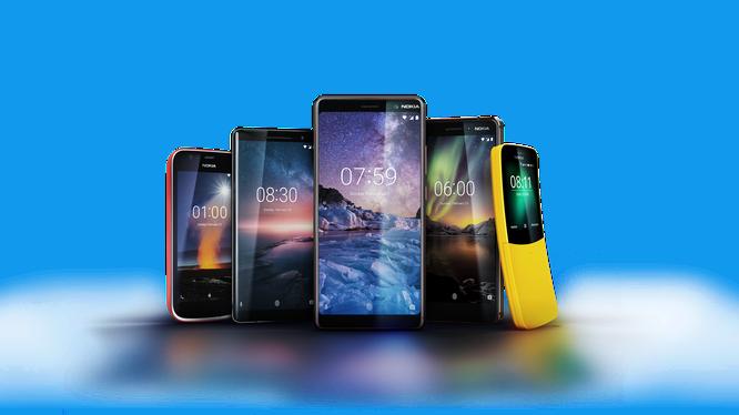 5 mẫu điện thoại HMD Global đem đến MWC năm nay gồm: Nokia 8810, Nokia 1, Nokia 6, Nokia 7 Plus và Nokia 8 Sirocco. Nguồn: Nokia